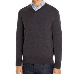 NWT Brooks Brothers Wool Vneck Gray Sweater M